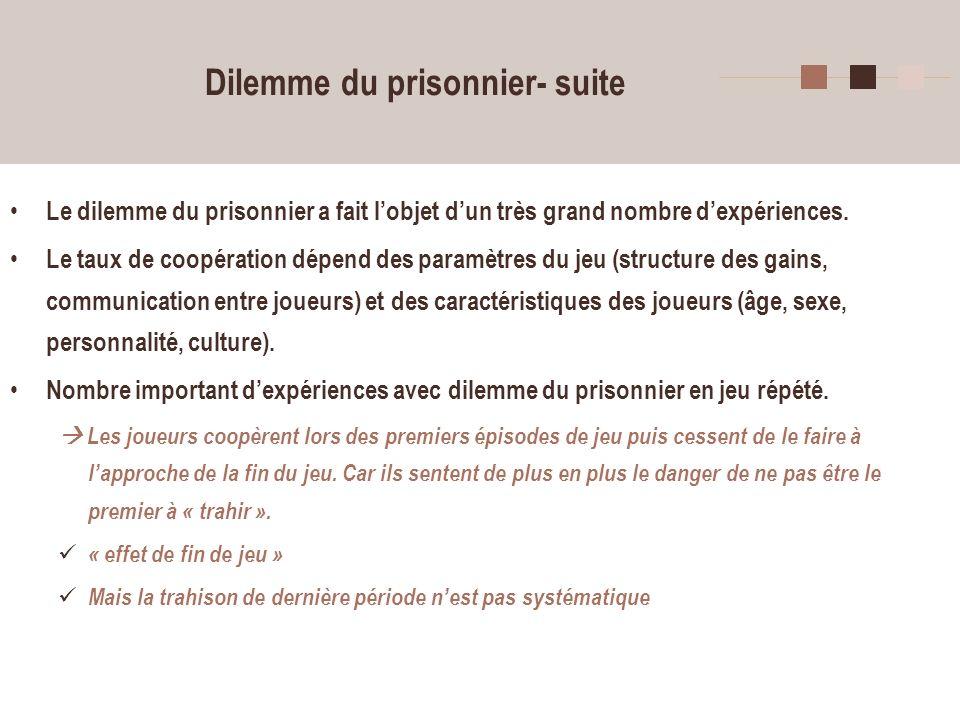 Dilemme du prisonnier- suite