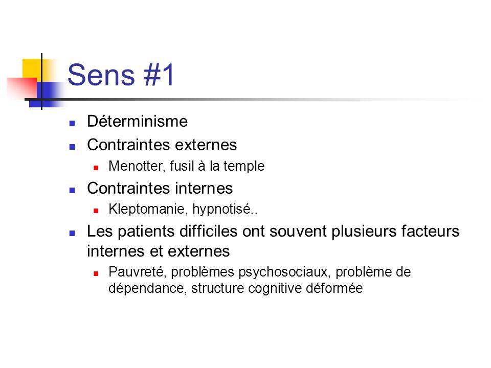 Sens #1 Déterminisme Contraintes externes Contraintes internes