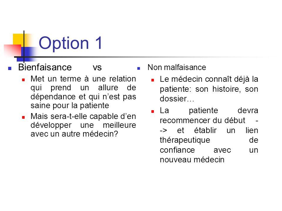 Option 1 Bienfaisance vs