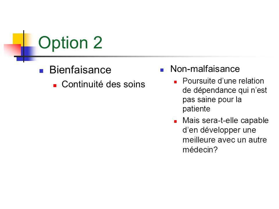 Option 2 Bienfaisance Non-malfaisance Continuité des soins