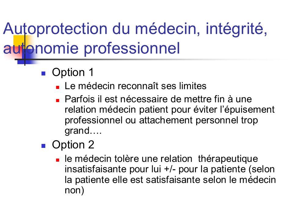 Autoprotection du médecin, intégrité, autonomie professionnel