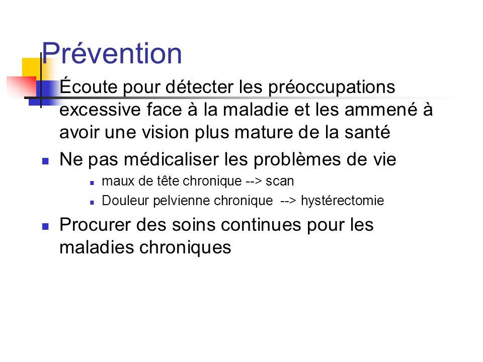Prévention Écoute pour détecter les préoccupations excessive face à la maladie et les ammené à avoir une vision plus mature de la santé.