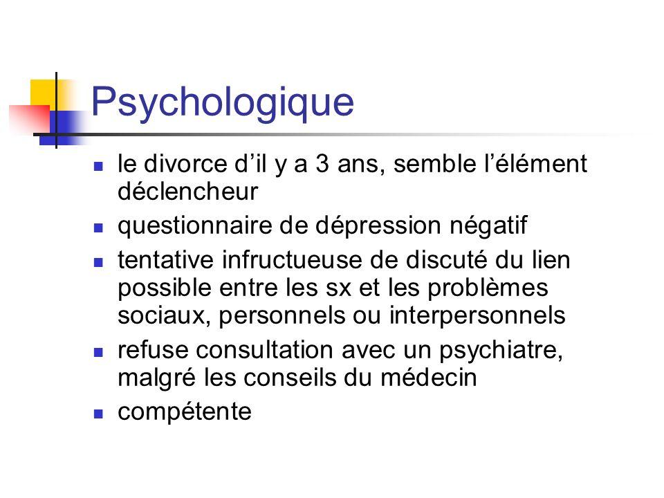 Psychologique le divorce d'il y a 3 ans, semble l'élément déclencheur