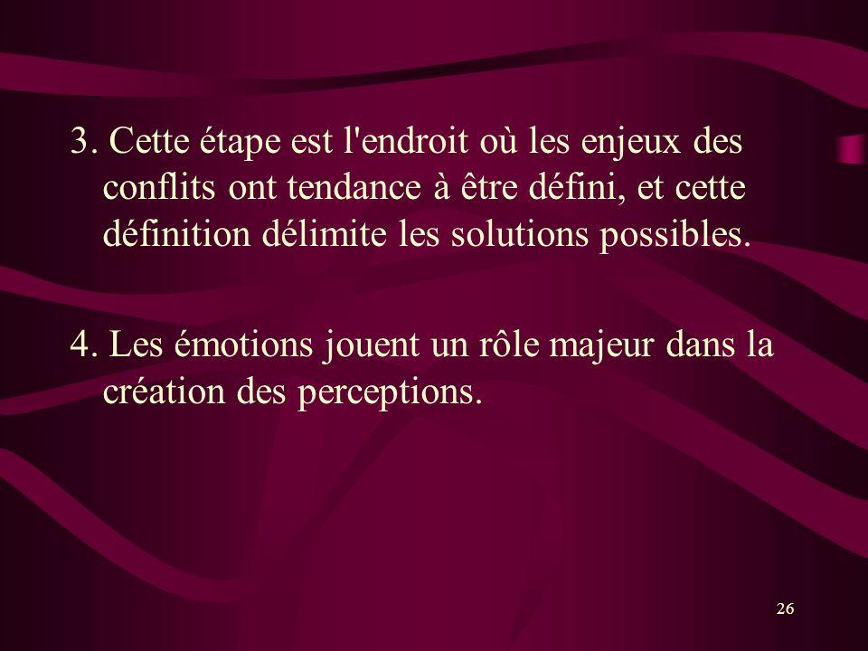 3. Cette étape est l endroit où les enjeux des conflits ont tendance à être défini, et cette définition délimite les solutions possibles.