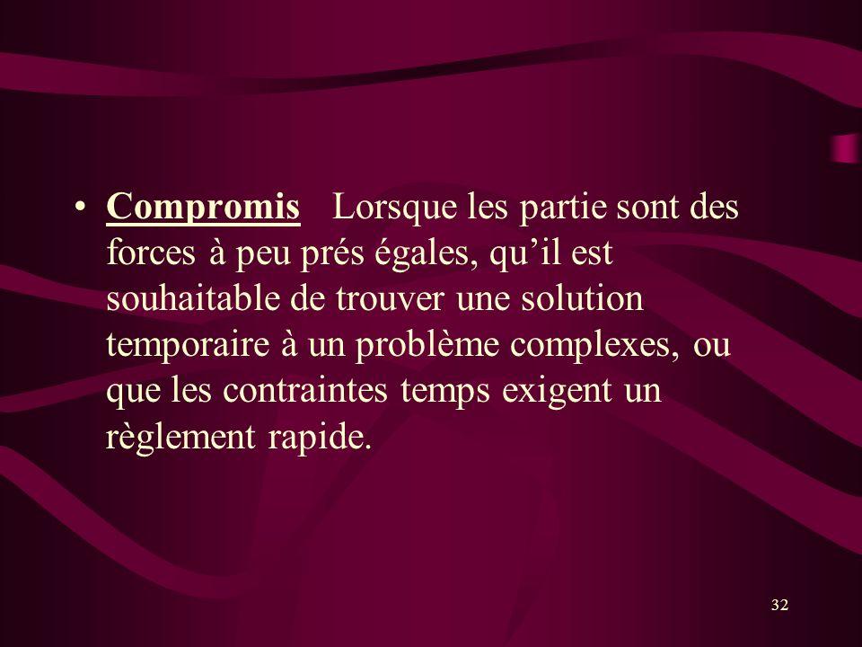 Compromis Lorsque les partie sont des forces à peu prés égales, qu'il est souhaitable de trouver une solution temporaire à un problème complexes, ou que les contraintes temps exigent un règlement rapide.