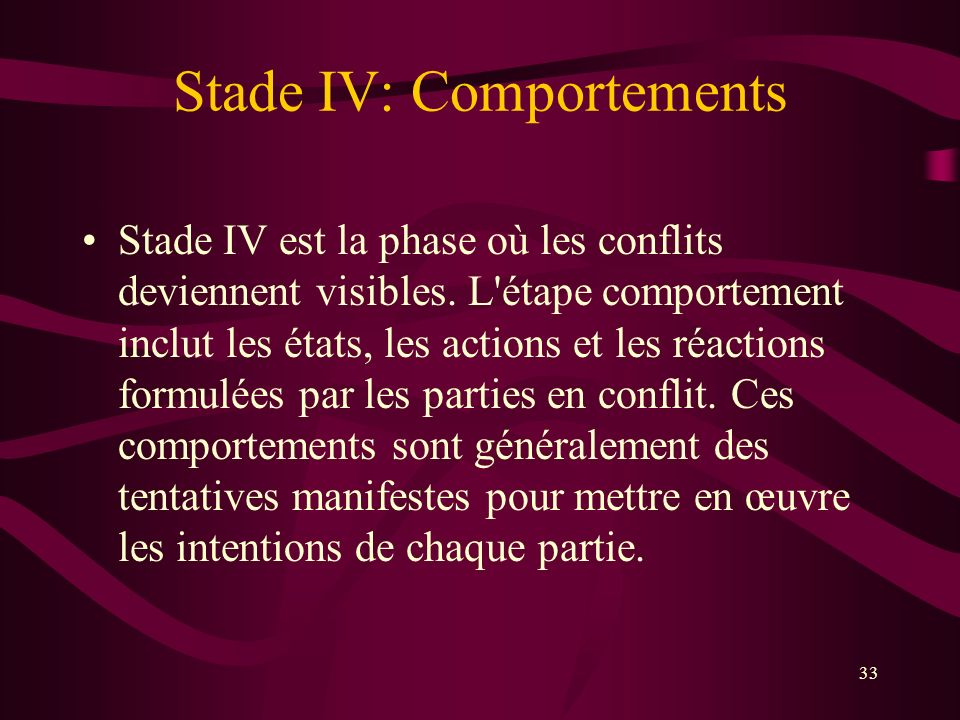 Stade IV: Comportements