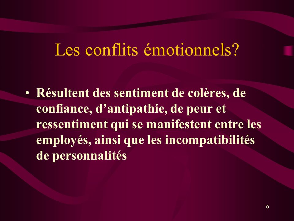 Les conflits émotionnels
