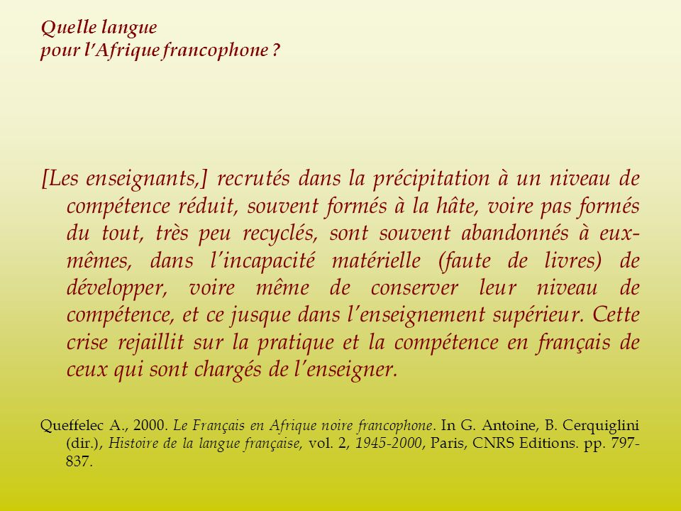 Quelle langue pour l'Afrique francophone