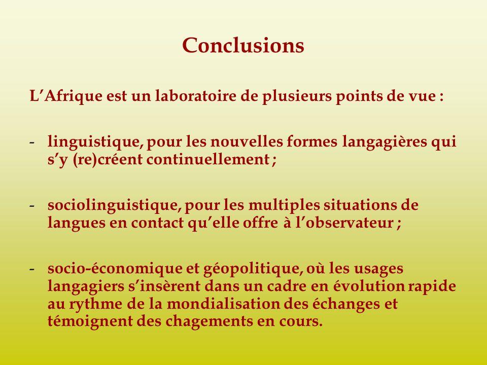 Conclusions L'Afrique est un laboratoire de plusieurs points de vue :