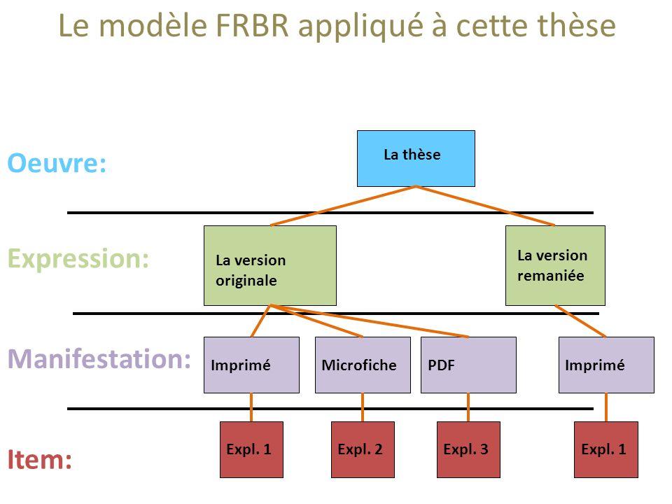 Le modèle FRBR appliqué à cette thèse