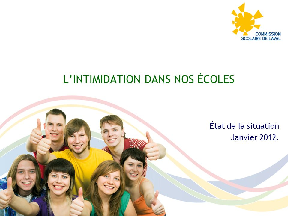 L'INTIMIDATION DANS NOS ÉCOLES