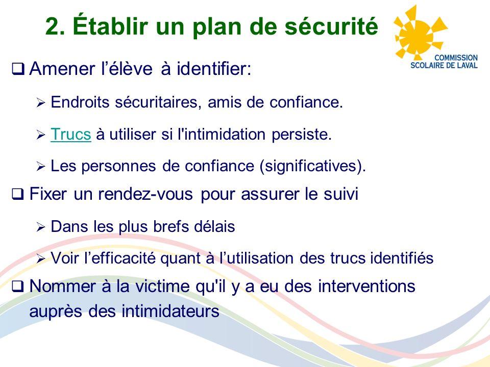 2. Établir un plan de sécurité