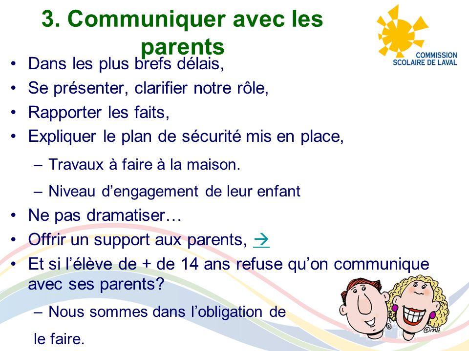 3. Communiquer avec les parents