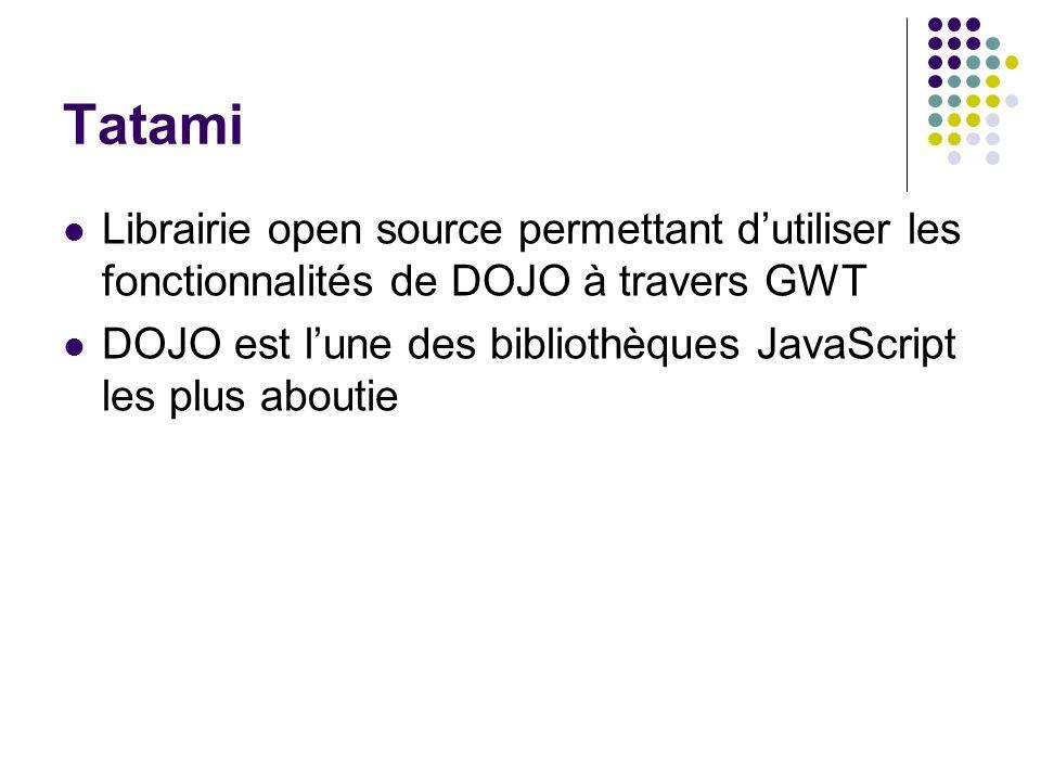 Tatami Librairie open source permettant d'utiliser les fonctionnalités de DOJO à travers GWT.