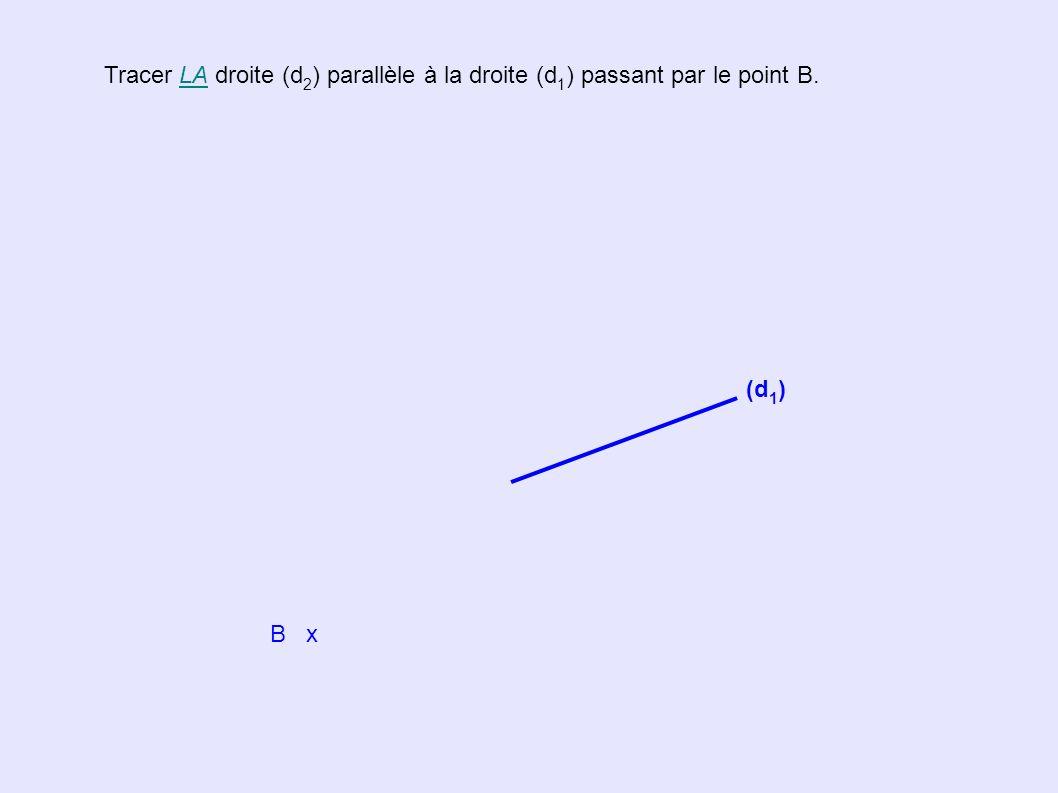 Tracer LA droite (d2) parallèle à la droite (d1) passant par le point B.
