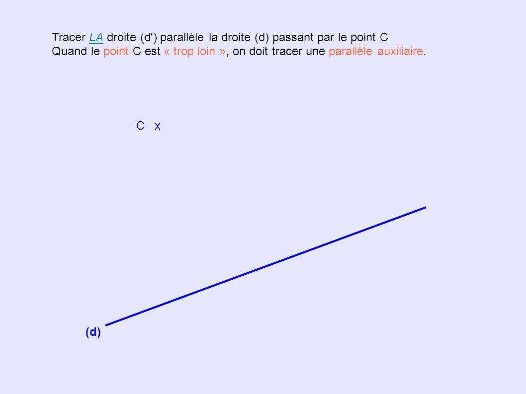 Tracer LA droite (d ) parallèle la droite (d) passant par le point C