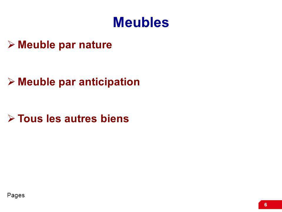 Meubles Meuble par nature Meuble par anticipation