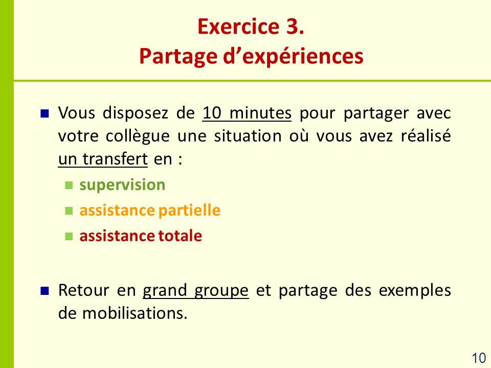 Exercice 3. Partage d'expériences