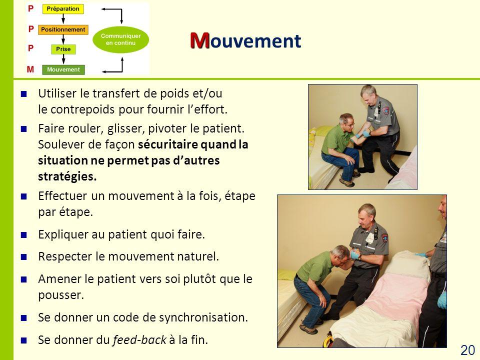Mouvement Utiliser le transfert de poids et/ou le contrepoids pour fournir l'effort.