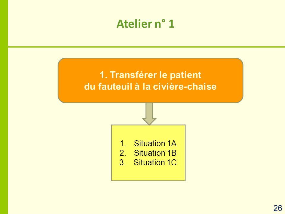 1. Transférer le patient du fauteuil à la civière-chaise