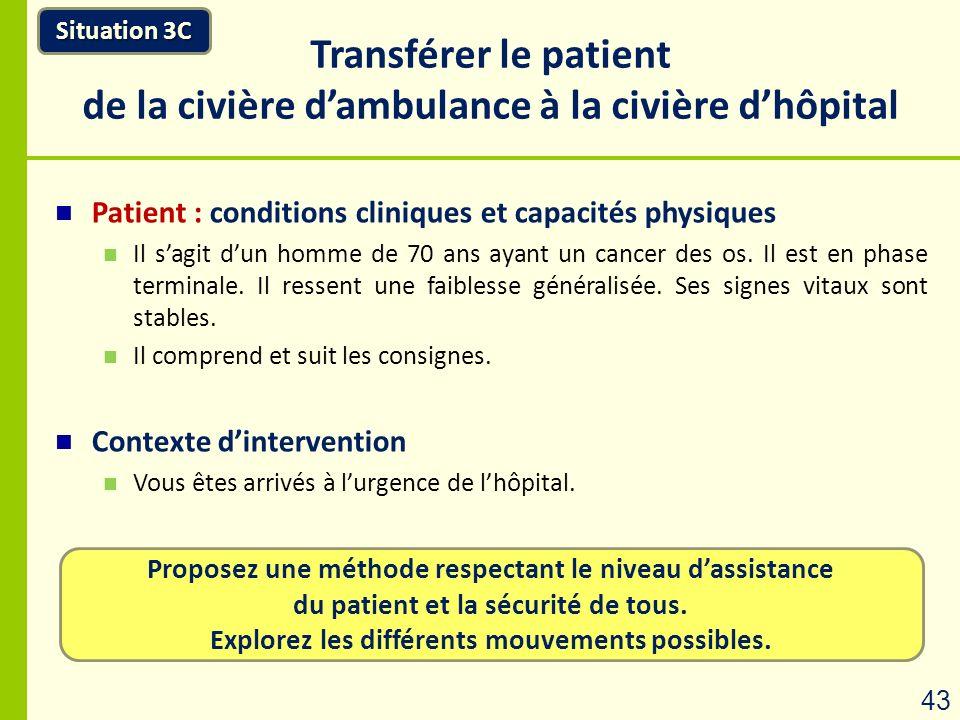 Transférer le patient de la civière d'ambulance à la civière d'hôpital