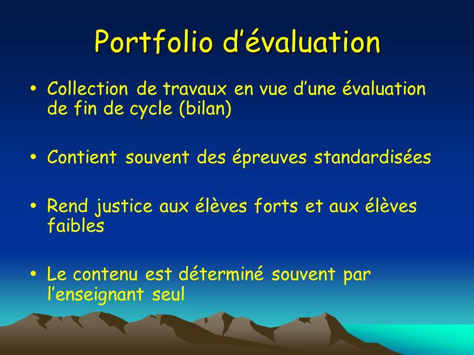 Portfolio d'évaluation