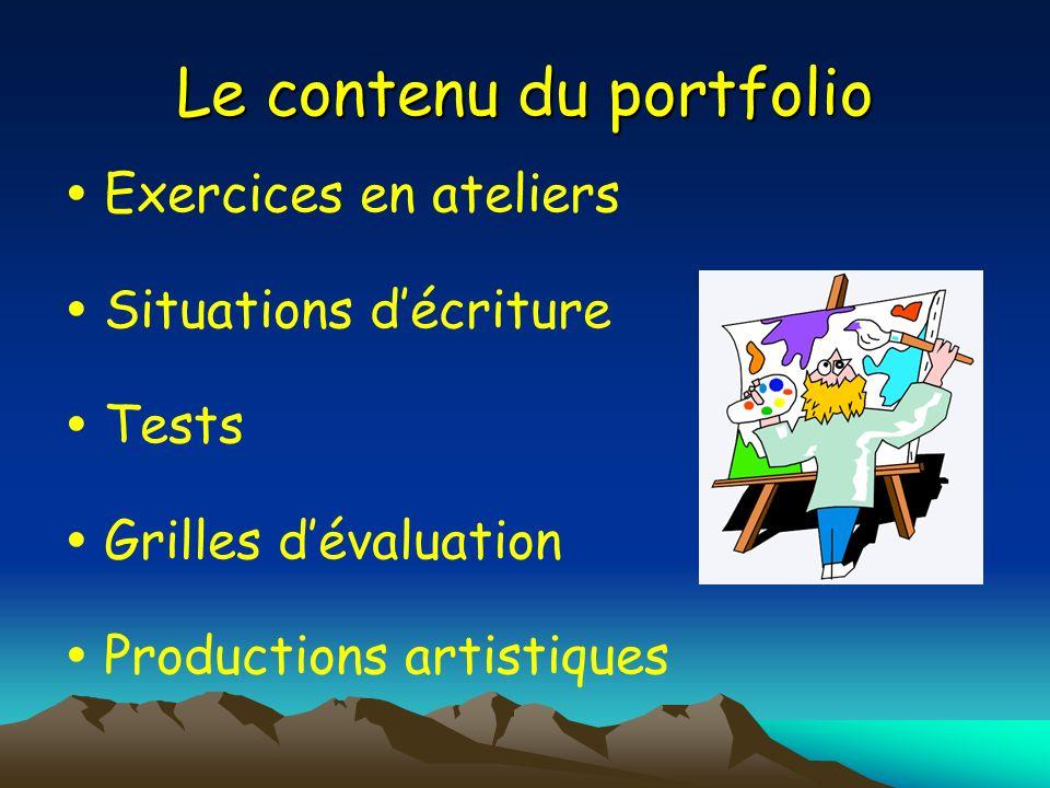 Le contenu du portfolio