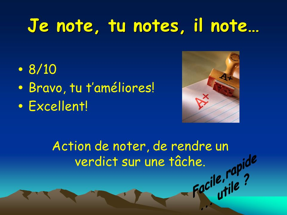 Je note, tu notes, il note…