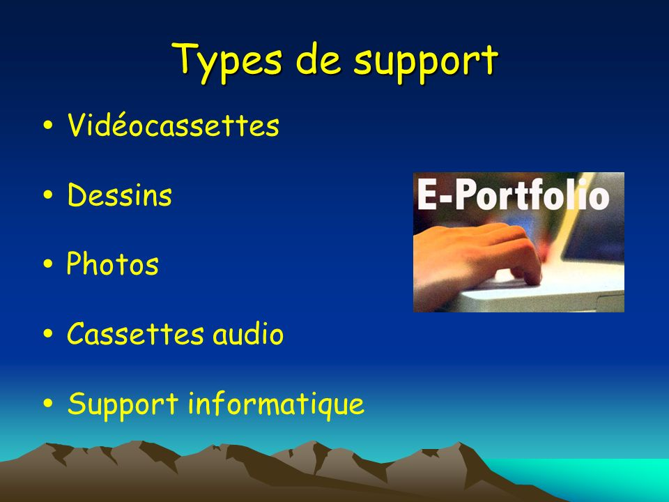 Types de support  Vidéocassettes  Dessins  Photos  Cassettes audio