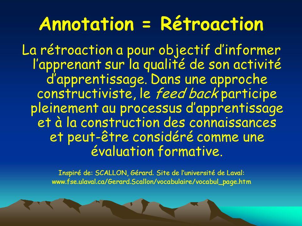 Annotation = Rétroaction
