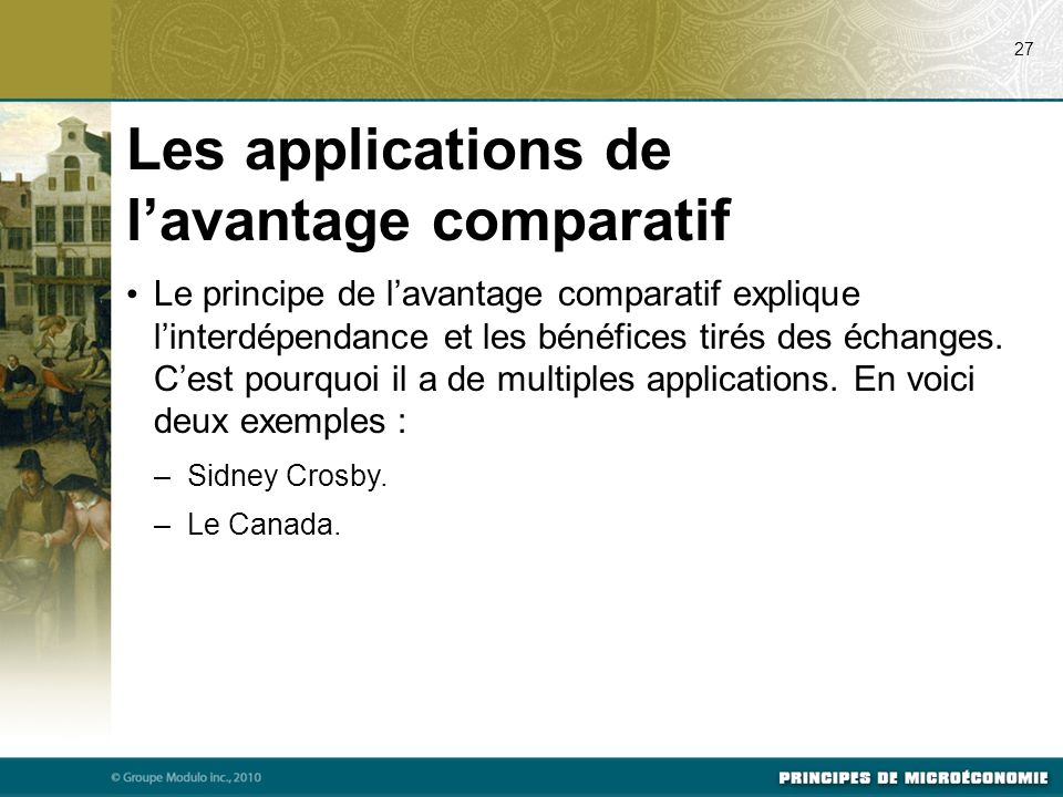 Les applications de l'avantage comparatif