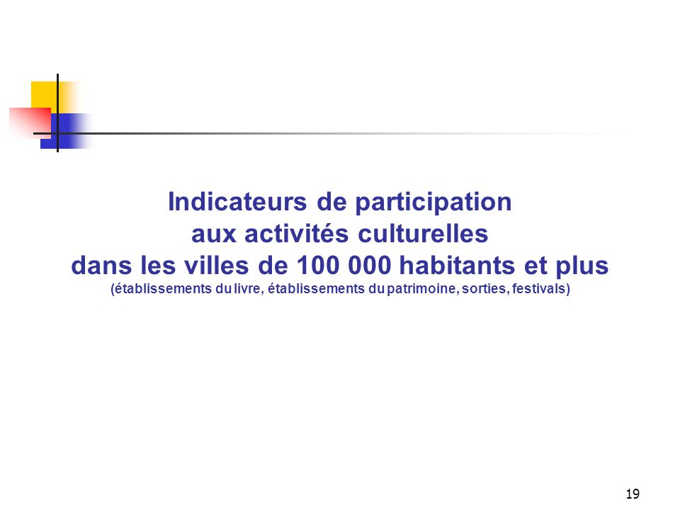 Indicateur global de participation aux activités culturelles dans les villes de 100 000 h. et plus (établissements du livre, établissements du patrimoine, sorties, festivals)