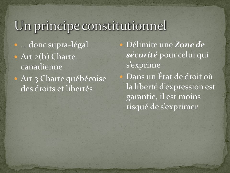 Un principe constitutionnel