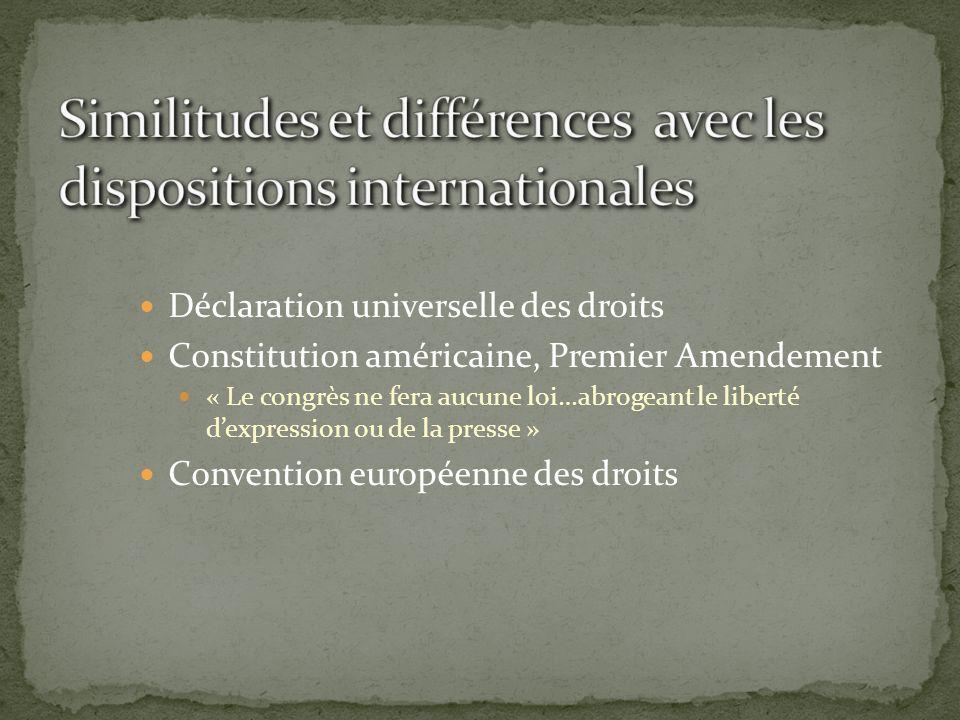Similitudes et différences avec les dispositions internationales