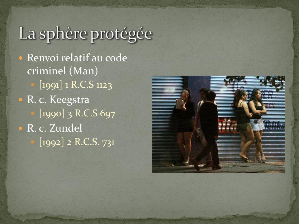 La sphère protégée Renvoi relatif au code criminel (Man)