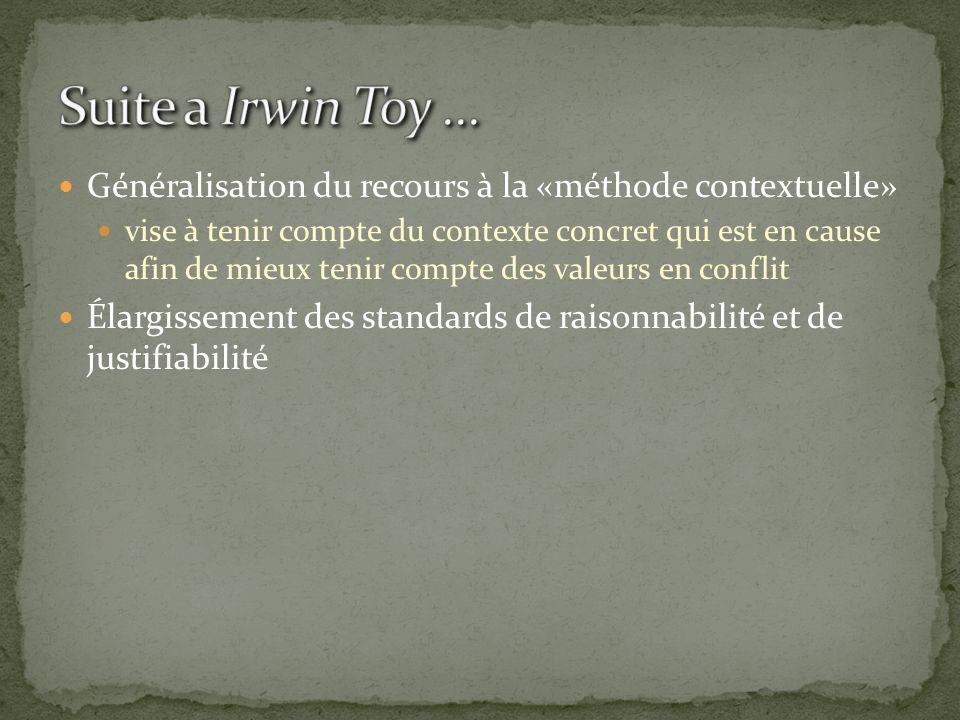 Suite a Irwin Toy ... Généralisation du recours à la «méthode contextuelle»