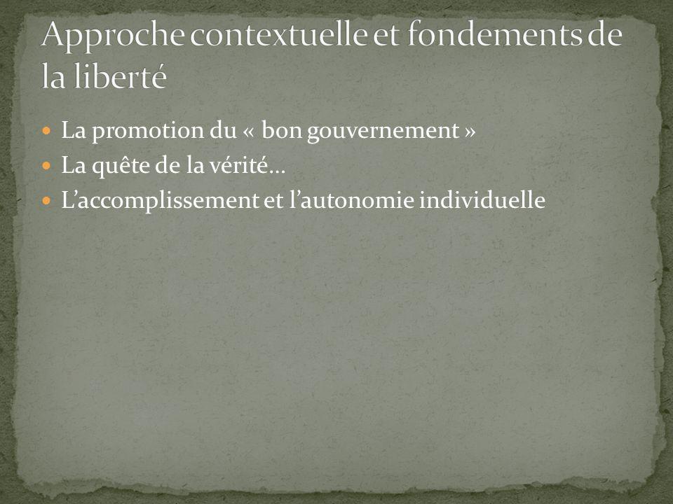 Approche contextuelle et fondements de la liberté