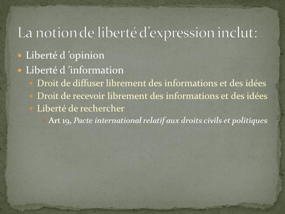 La notion de liberté d'expression inclut: