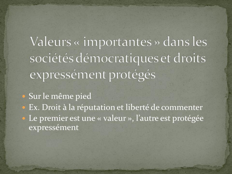 Valeurs « importantes » dans les sociétés démocratiques et droits expressément protégés