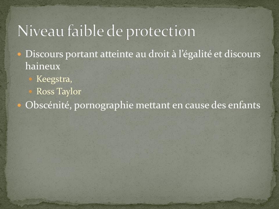 Niveau faible de protection