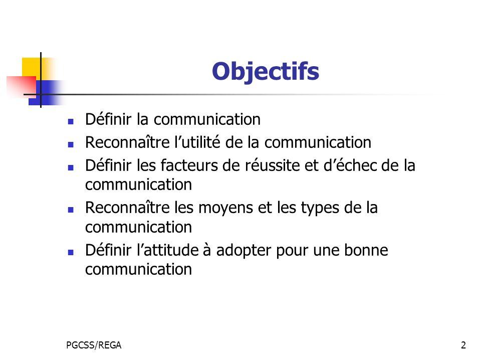 Objectifs Définir la communication