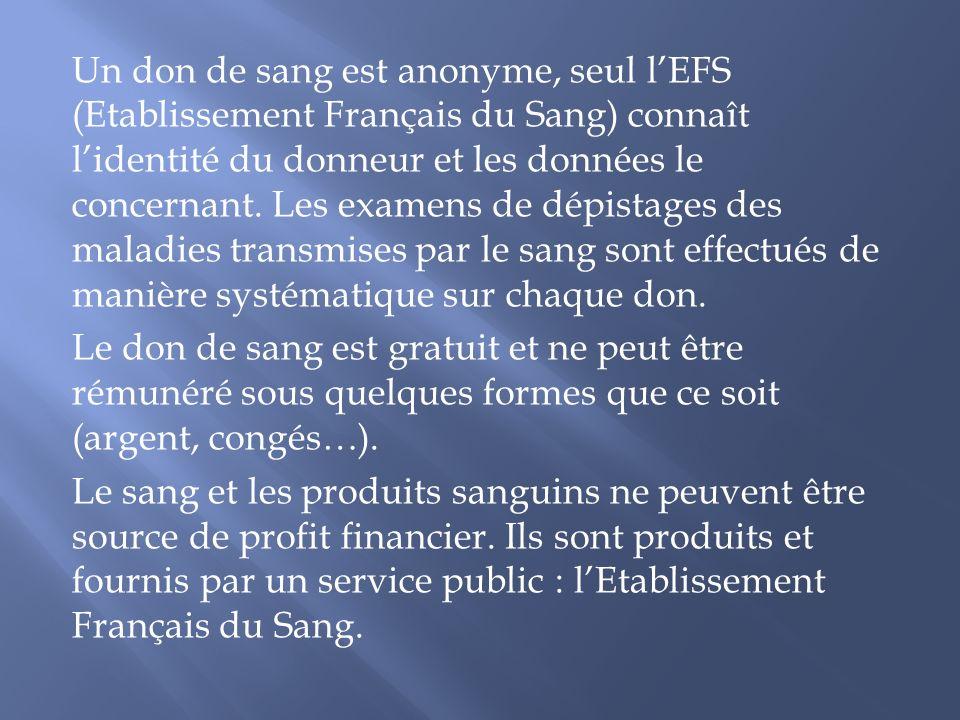 Un don de sang est anonyme, seul l'EFS (Etablissement Français du Sang) connaît l'identité du donneur et les données le concernant.