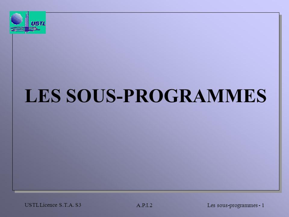 LES SOUS-PROGRAMMES USTL Licence S.T.A. S3 A.P.I.2