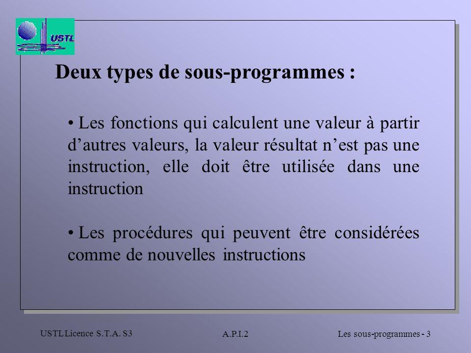 Deux types de sous-programmes :