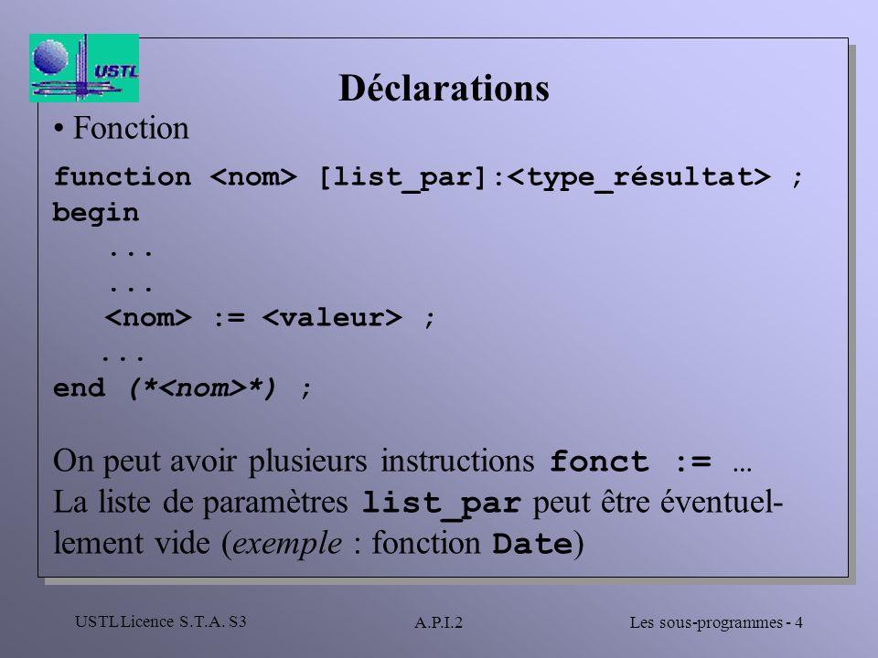 Déclarations Fonction On peut avoir plusieurs instructions fonct := …