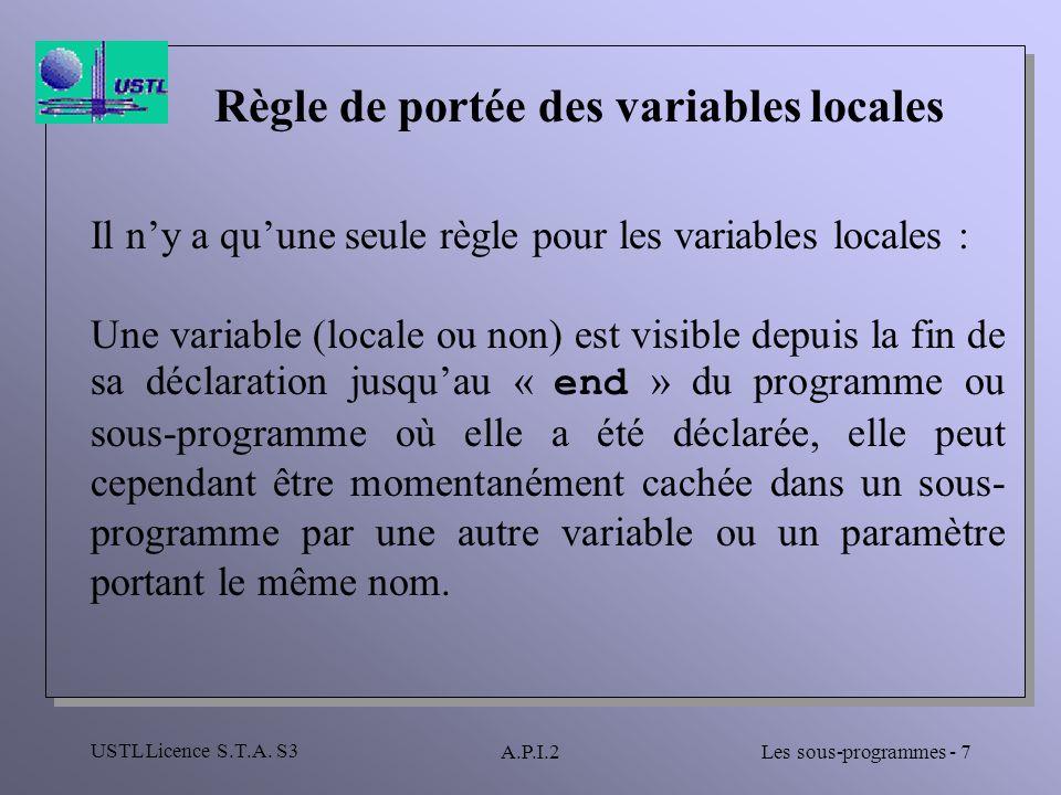 Règle de portée des variables locales