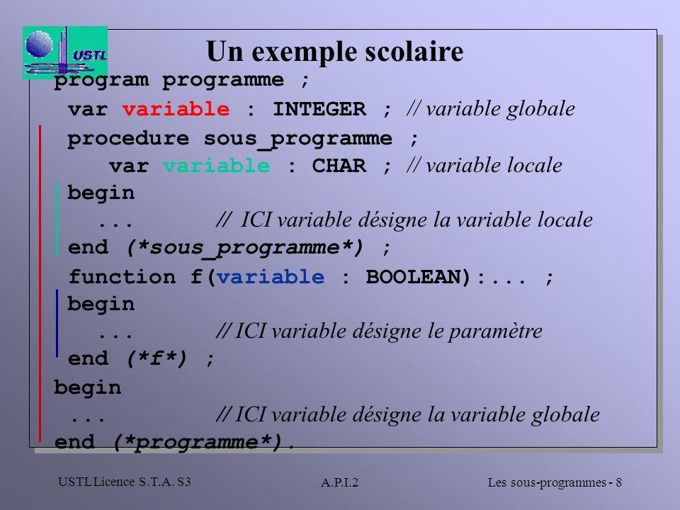 Un exemple scolaire program programme ;