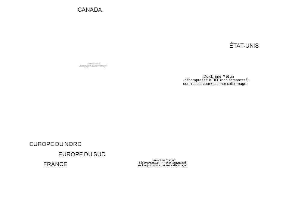 CANADA ÉTAT-UNIS EUROPE DU NORD EUROPE DU SUD FRANCE