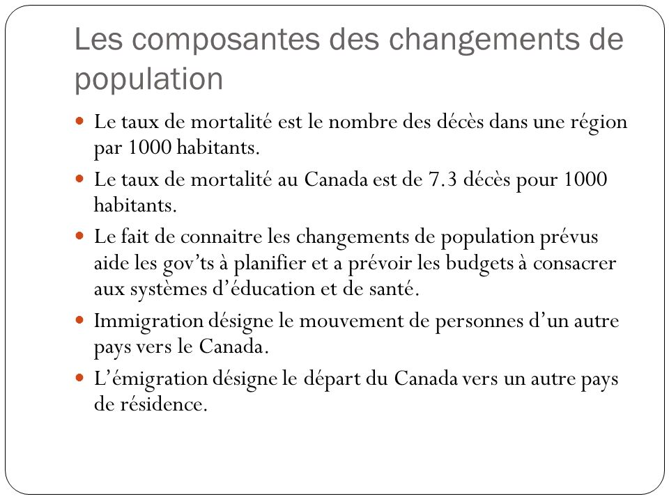 Les composantes des changements de population