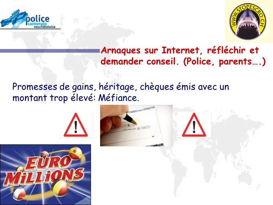 Arnaques sur Internet, réfléchir et demander conseil. (Police, parents….)